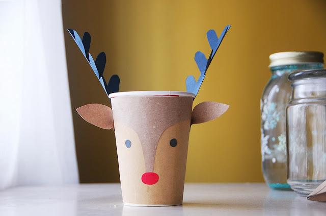 The pink doormat reindeer christmas cups - Manualidades con vasos ...
