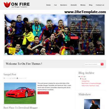 On Fire Blogger Template. featured content blogger template. 4 column footer template