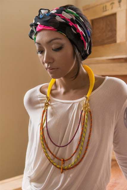 Singapore designer Diane Tang&#39;s scarf and necklace is inspired by pieces from the Asian Civilisations Museum