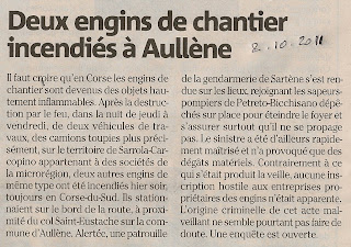 Engins chantier incendiés