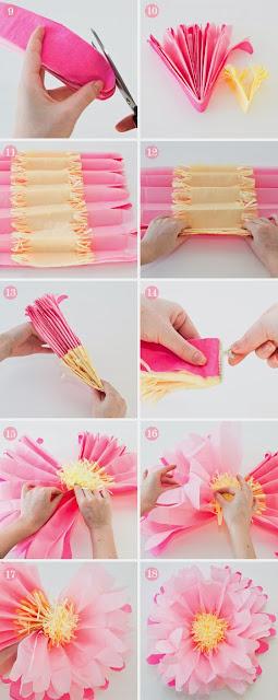 Passo a passo de flores de papel de seda