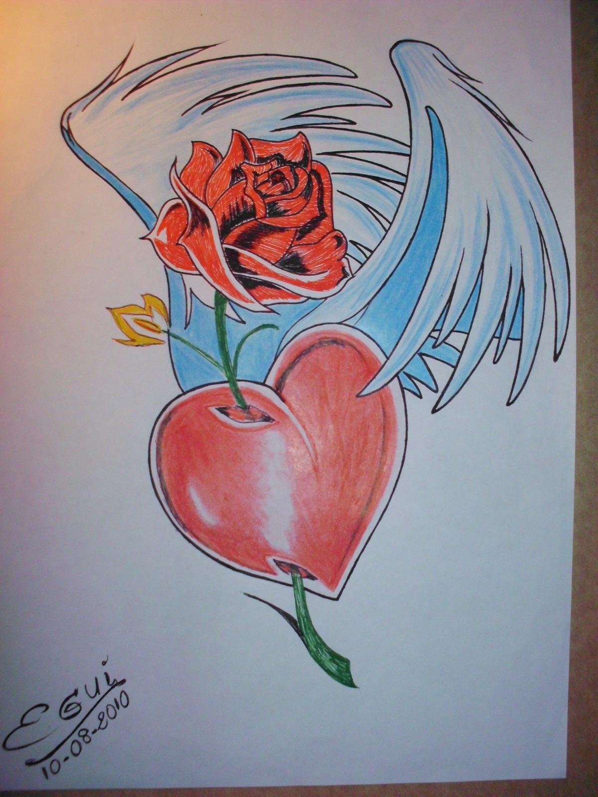 Images For > Dibujos A Lapiz De Corazones Con Alas