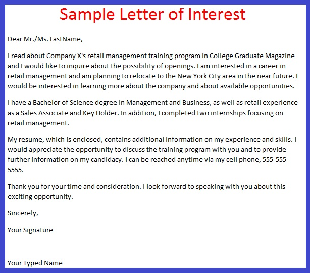 job application letter of interest example