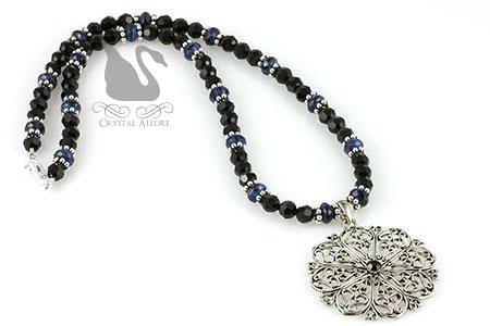 Blue Lapis Gemstone Crystal Filigree Snowflake Pendant Necklace (N069)
