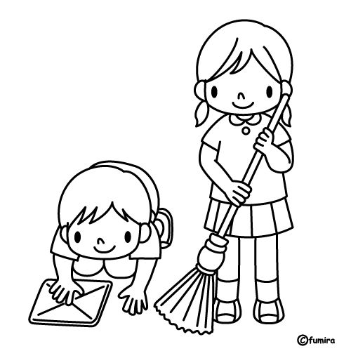 Cleaning Up Coloring Page