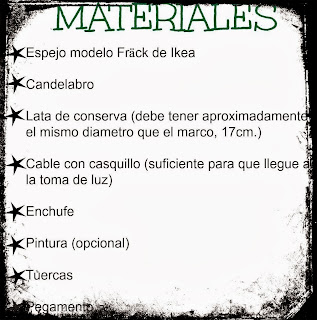 DIY LÁMPARA INDUSTRIAL MATERIALES