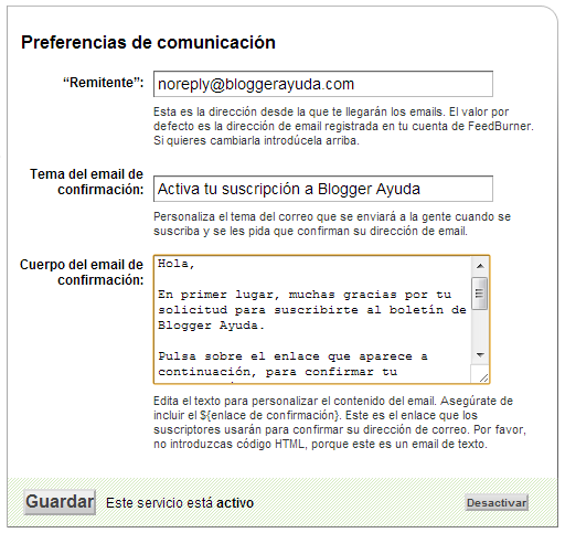 FeedBurner - Preferencias de comunicación
