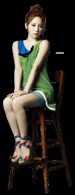 イスに座ってる少女時代テヨンの透過画像