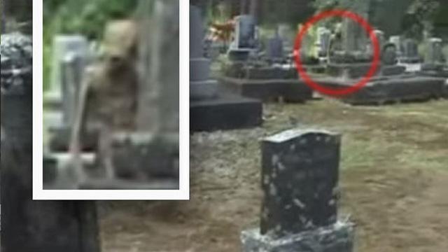Bizarre 'Alien Humanoid' Caught On Camera Hiding In Cemetery