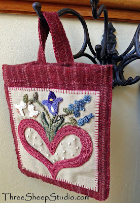 """Love Letters"" Hanging Wall Pocket Punch Needle desgin by Rose Clay"