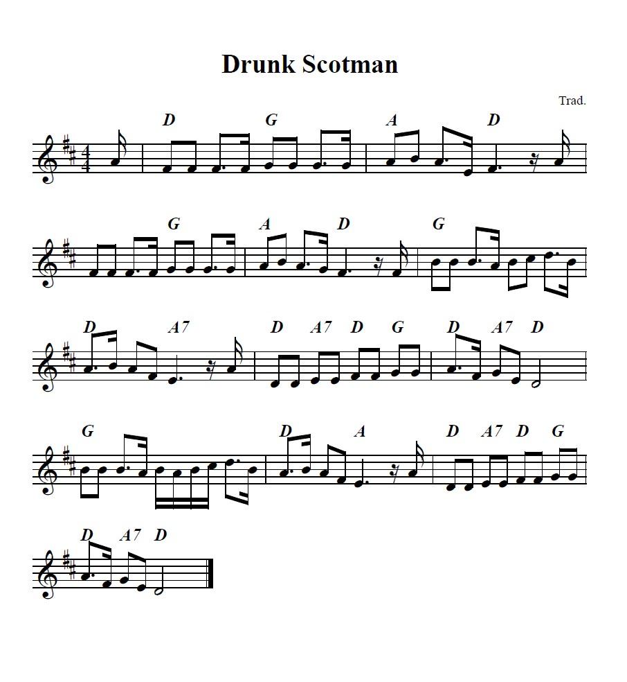Bollywood Sheet Music September 2011: Bouzouki GDAE: Drunk Scotsman