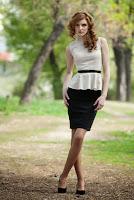 Rochie peplum Raluca Martinescu bej cu negru din bumbac RM054