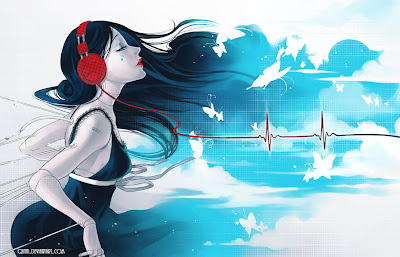 Anime Women With Headphone - Listeng to Music Wallpaper