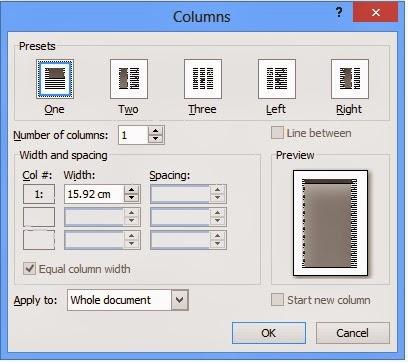 gambar kotak dialog Columns