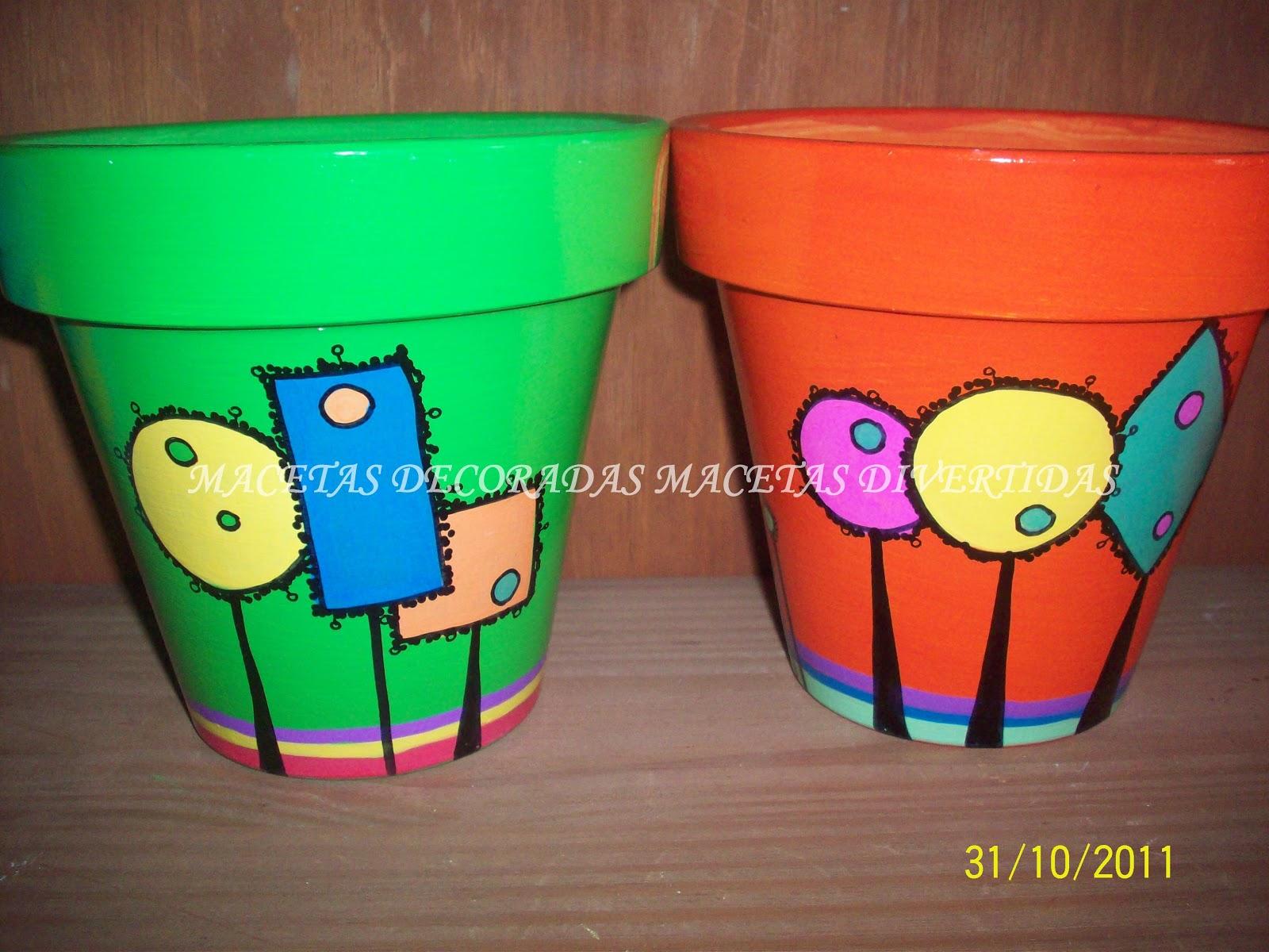 Macetas decoradas macetas divertidas - Macetas de colores ...