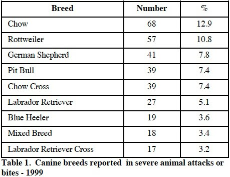 Dog Bite Statistics By Breed  Uk