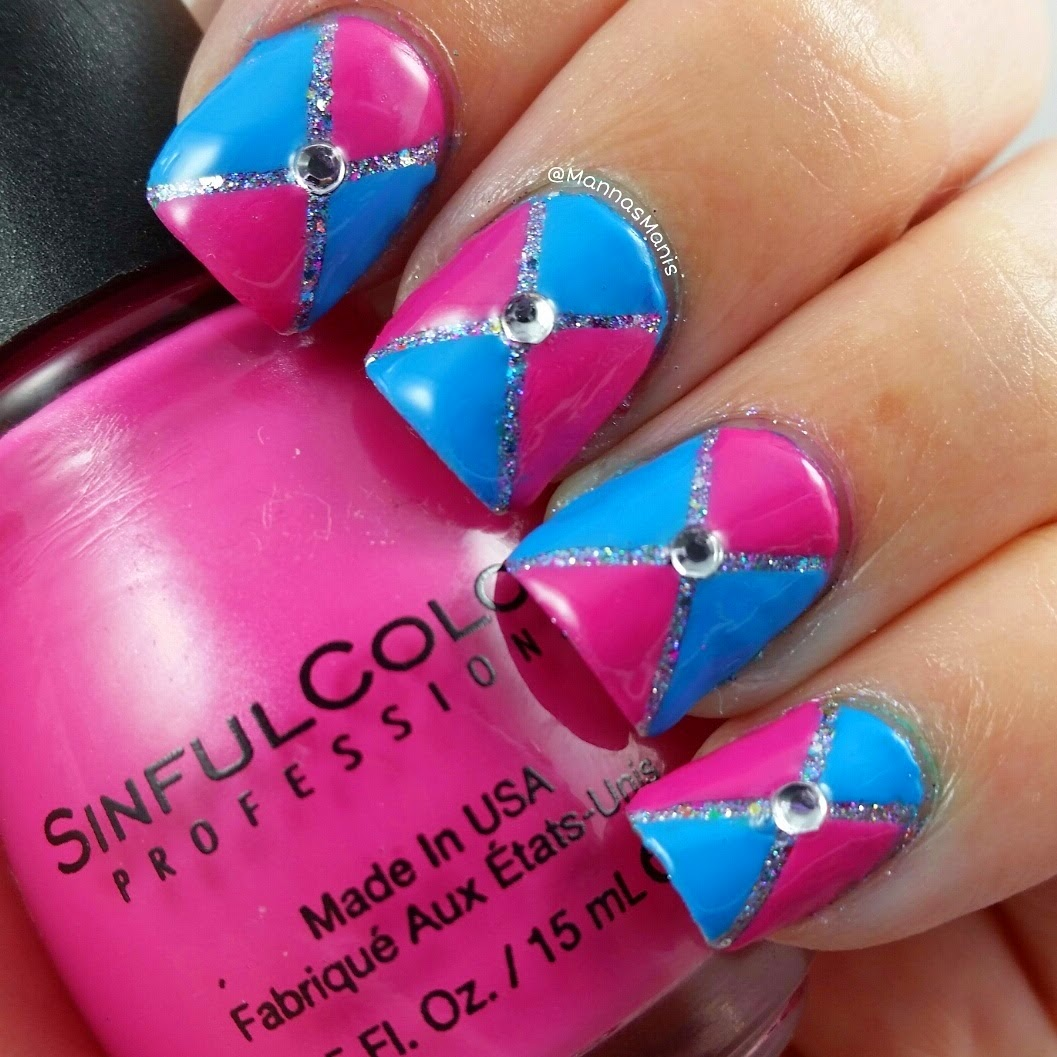 blue and pink rhinestone nail art
