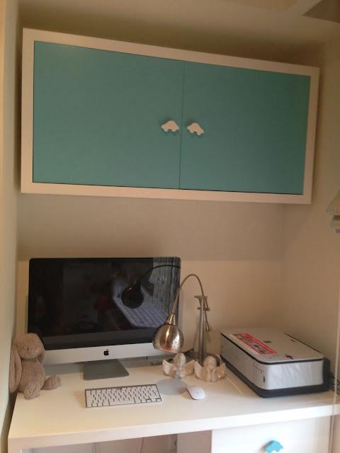 Desk @ Blue and beige stripes boy's bedroom