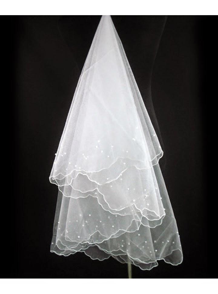 Velo para Vestido de Novia de Elaborada en Tul con Borde Bordado y Esferas
