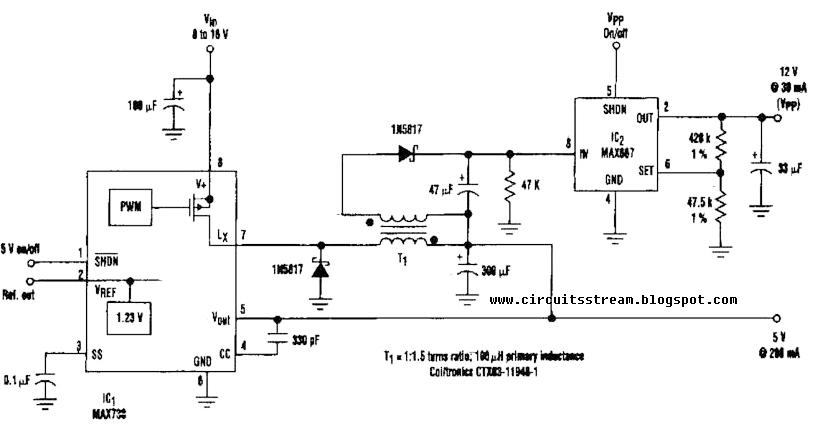 basic 12v output to 5v buck regulator circuit diagram