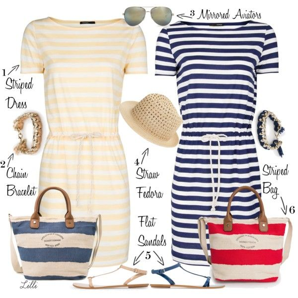 Nautical Inspired Look: Stripes, Flats, Straw Fedora