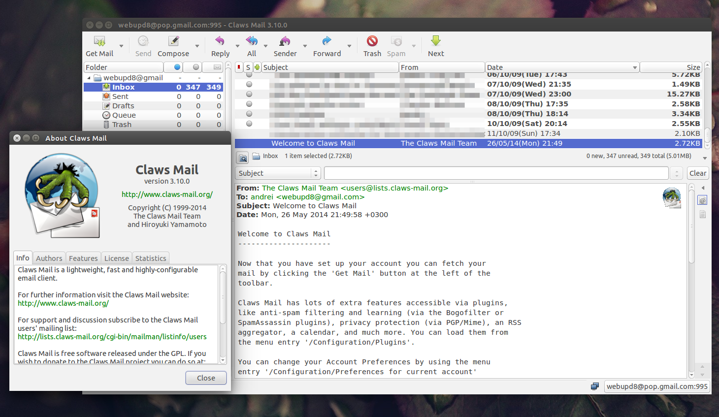 Claws Mail 3.10 Ubuntu