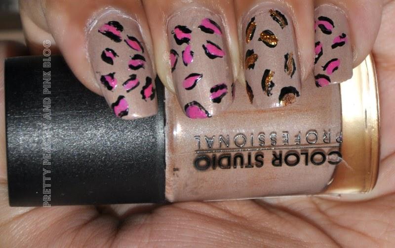 Pink leopard mani using Color Studio Professional mocha