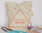 Cute French tote bag mon petit bazar