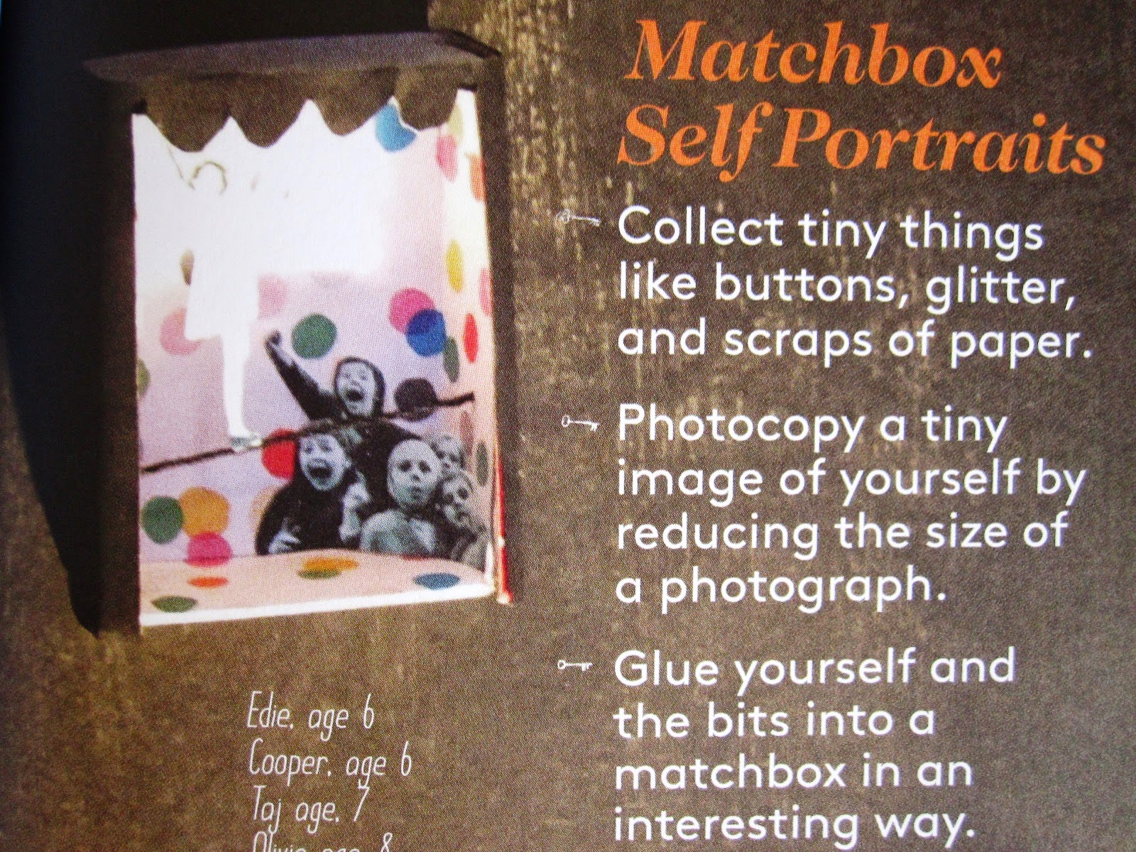Instructions from a magazine for making tiny self portraits in matchboxes.