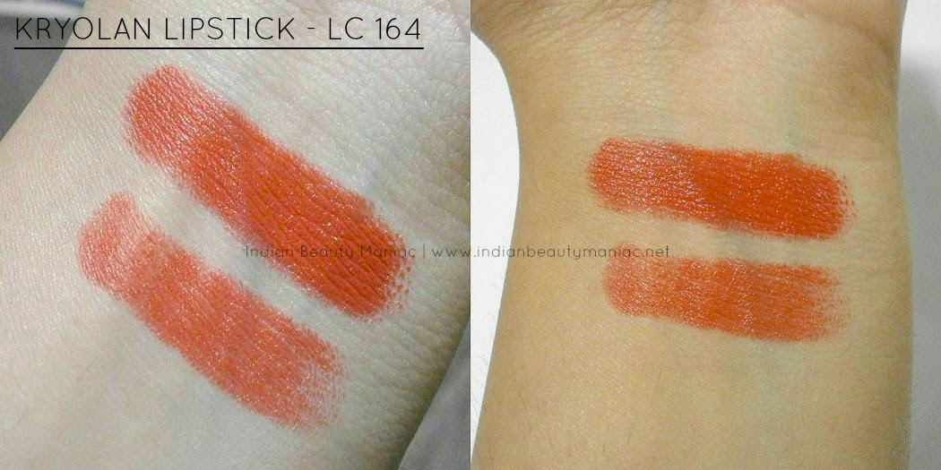 Kryolan Lipstick in LC 164 swatch under various lightings