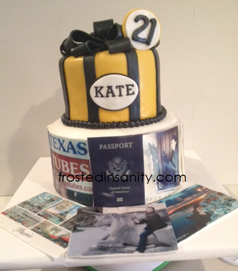 Frosted Insanity 21st Birthday Travel Abroad Cake