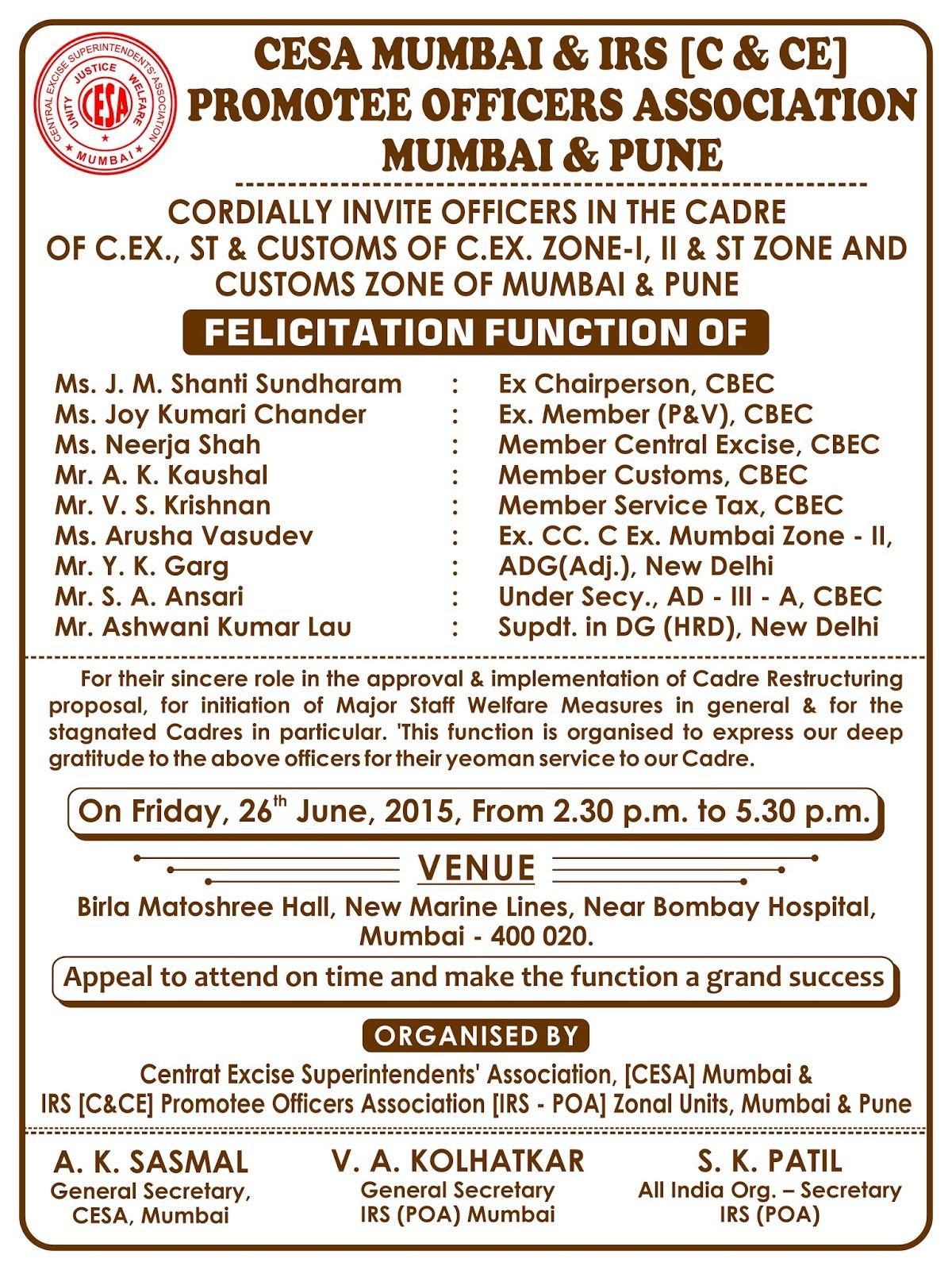 CESA MUMBAI OPEN INVITATION FOR FELICITATION FUNCTION