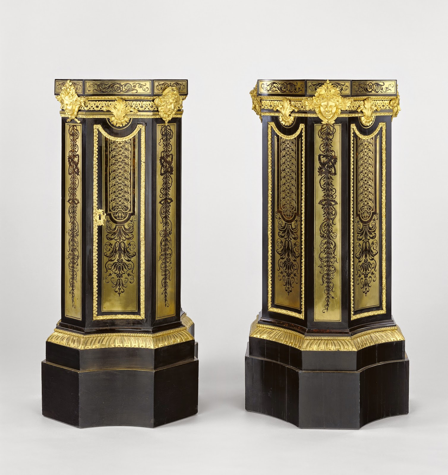Pair of Pedestals, attributed to André-Charles Boulle, about 1700, Fir, oak and walnut veneered with ebony, dyed fruit wood (probably pear) brass and tortoise shell; gilt bronze mounts