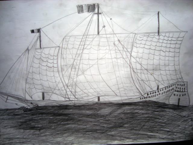 Desen corabie în creion