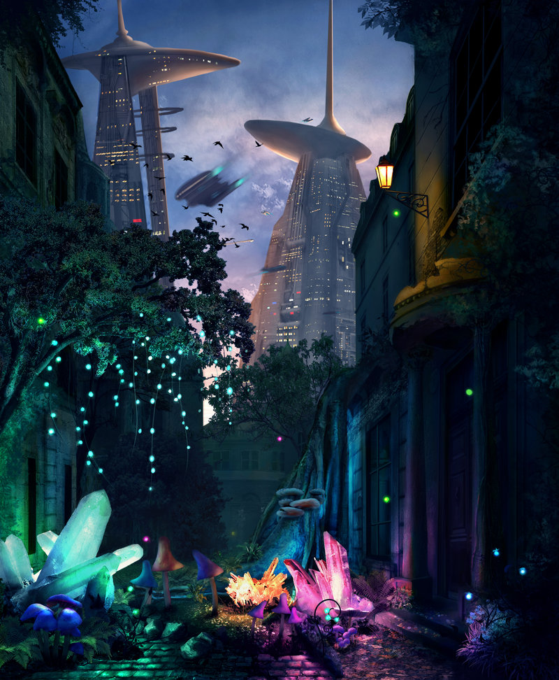 Crystals Growing On An Old Street In A Futuristic Sci-Fi City