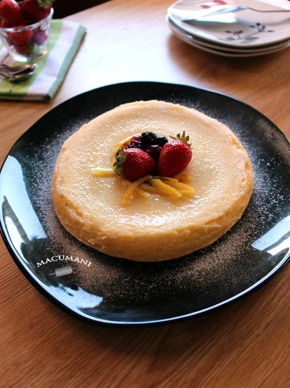 Tarta de queso al microondas . Macumani