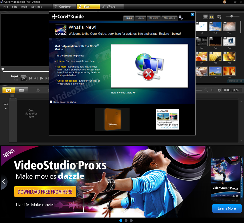 Download corel video studio pro X5 trail.