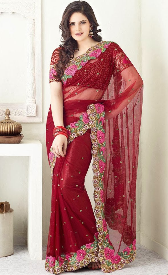 Zarin khan looking hot in red saree