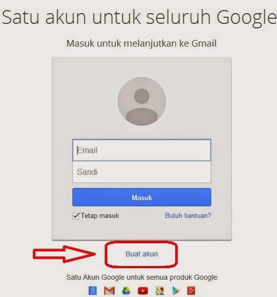 Klik pada tulisan Buat akun diatas untuk mendaftar email baru Anda ...