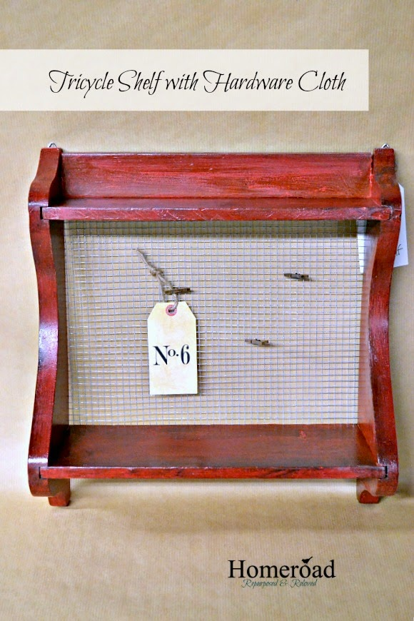 Red Tricycle Shelf with Hardware Cloth www.homeroad.net