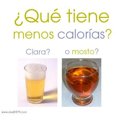 calorías mosto calorías clara