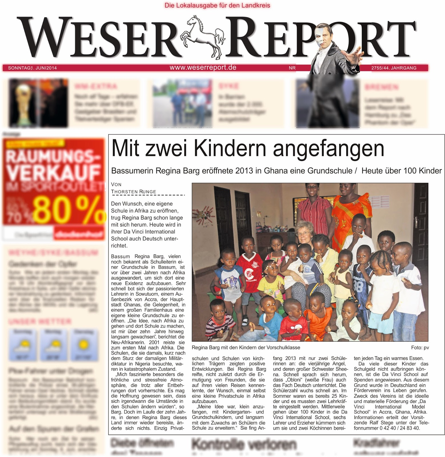 Weser Report am 1.6.2014 (Titelseite!)