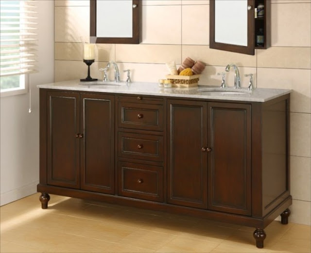a simple dark brwon teak wooden bathroom base cabinets with double mirror above it