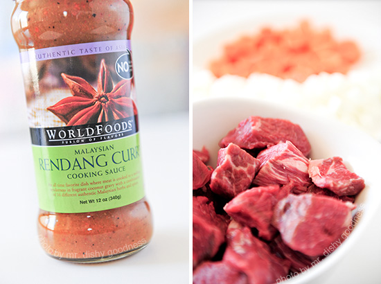 WORLDFOODS Malaysian Rendang Curry Cooking Sauce; Angus chuck roast, carrots and onions