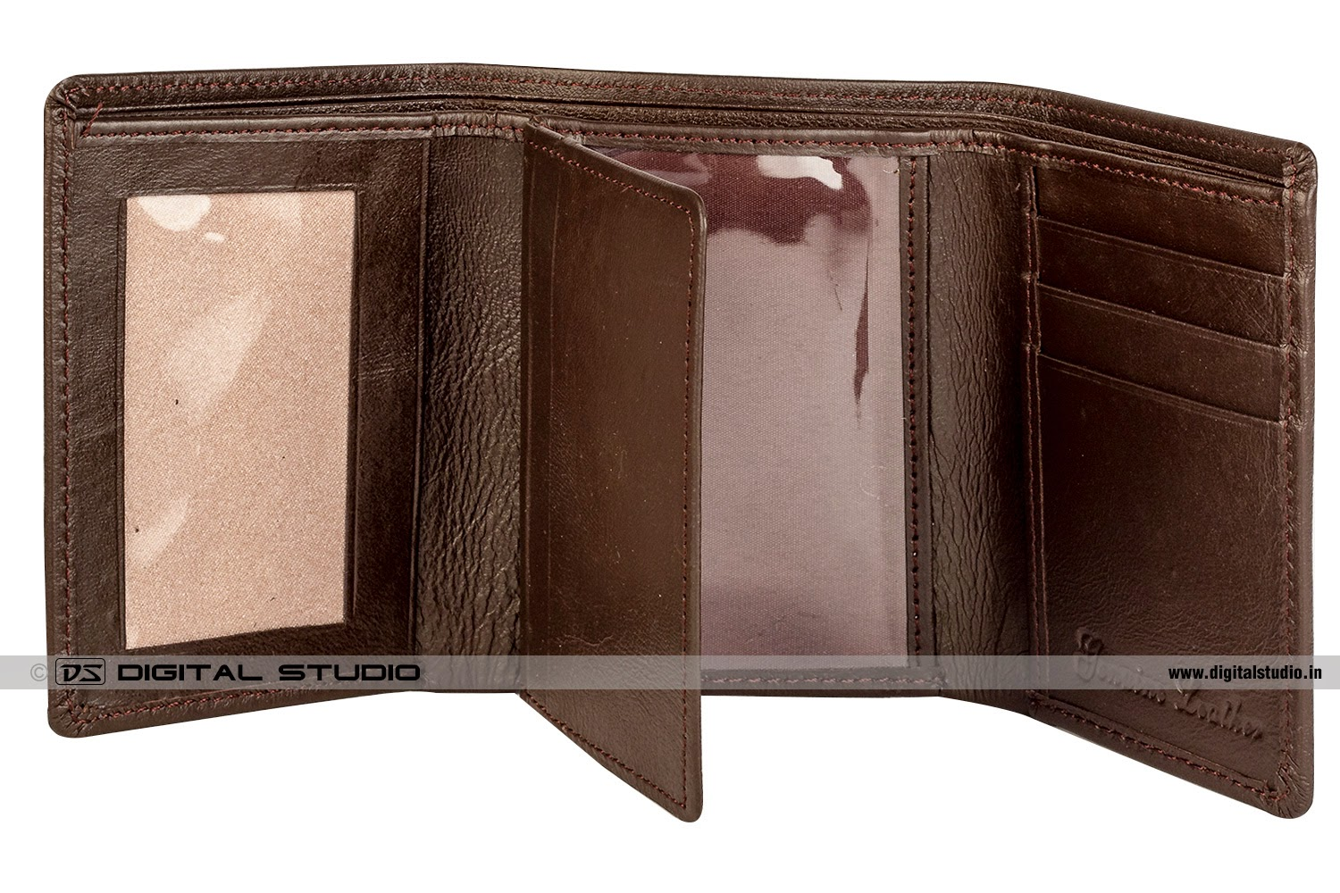 Pure leather brown wallet
