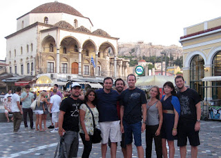 Our group in Monastiraki Square with the Acropolis above.