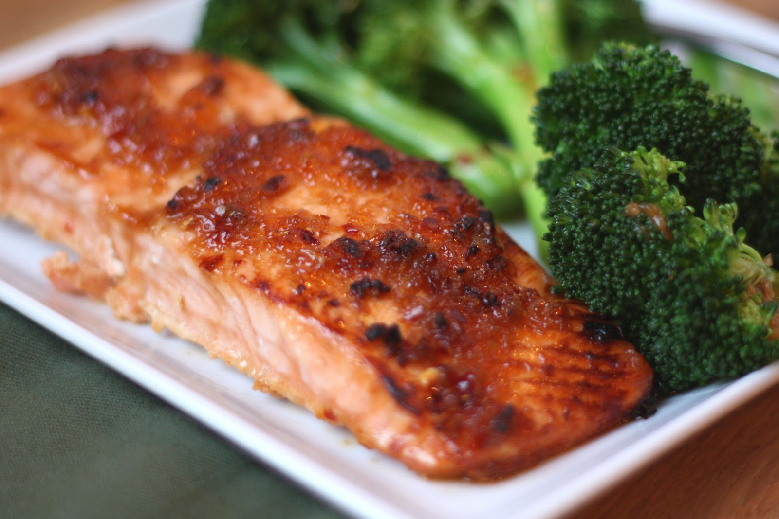 ... In The Kitchen: Sweet and Spicy Glazed Salmon with Spicy Broccoli
