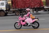 motorcycle girl pink
