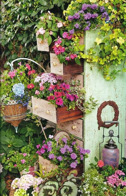 repurposed garden containers and tons of great ideas for your, Beautiful flower