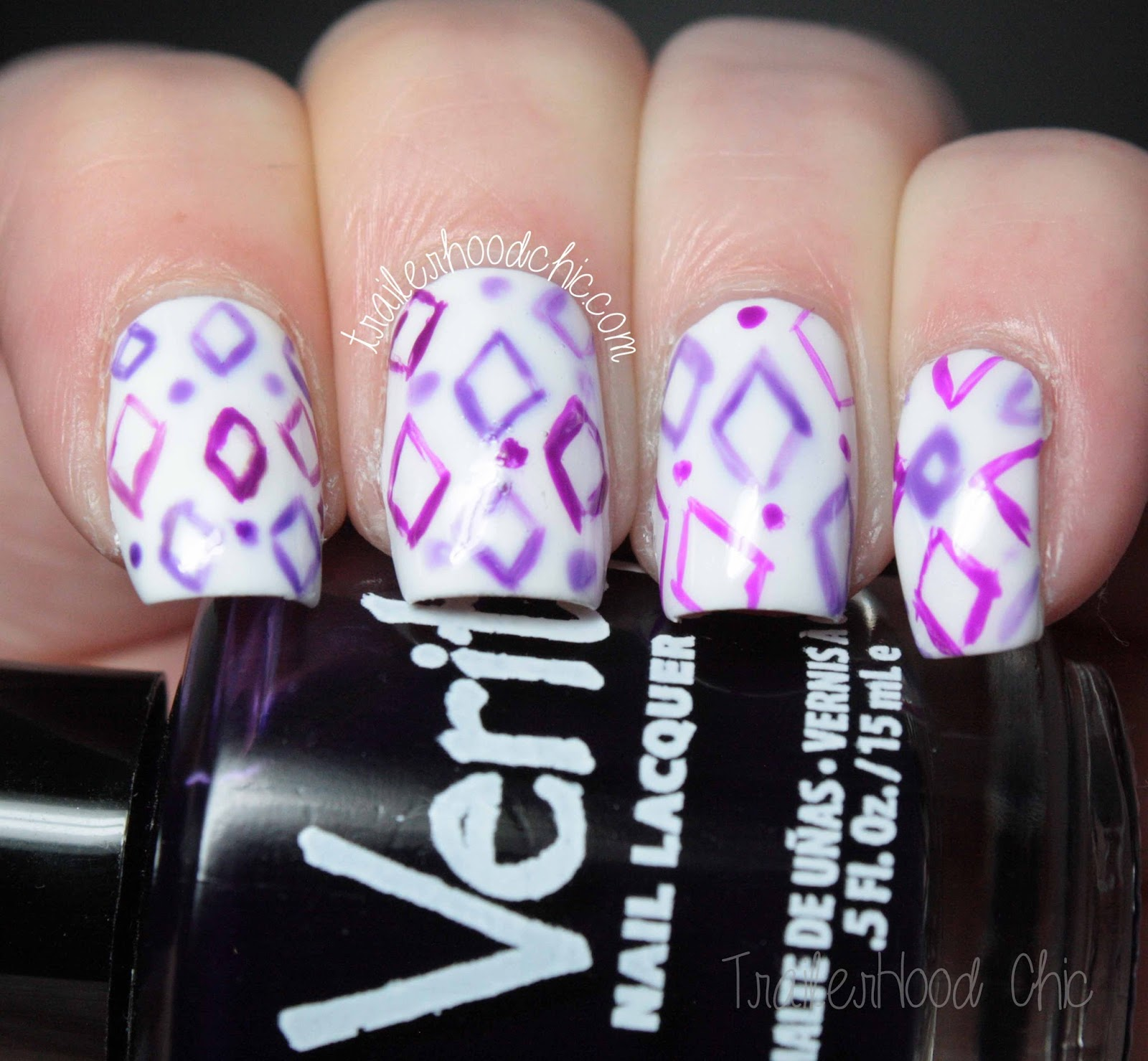 purple jelly diamond nails